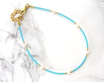 Turquoise Fresh water pearl anklet bracelet, minimalist pearl anklet, dainty fine anklet, delicate beaded anklet, pearl jewelry, boho anklet
