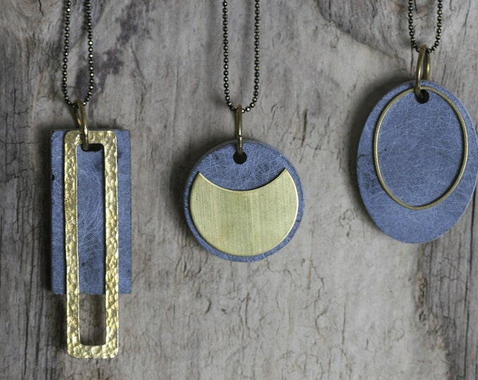 Minimalist Concrete and Brass Necklace | Concrete Beads | Architectural |  Geometric Jewellery