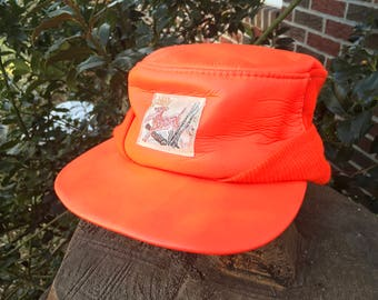 Vintage Blaze Orange Hunting Hat 10 Point Buck Deer Graphics One Size Fits All