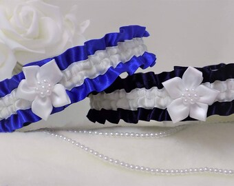 Wedding garter/Bridal garter. Navy Blue or Royal Blue satin with White or Ivory. Poinsettia flower and pearls.