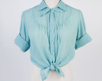 Polka Dot Pleated Bow Collar Long Sleeves Green Vintage Women Blouse Size M