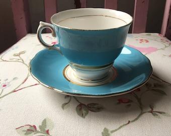 Beautiful blue colclough tea cup and saucer