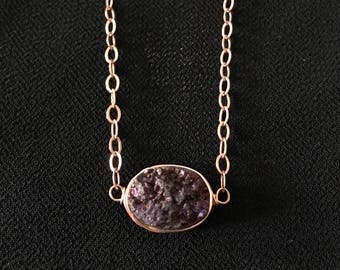 Deep Purple Stone Rose Gold Necklace