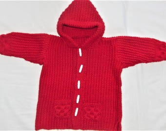 Hand Knitted Baby Duffle Coat, Knitted Coat, Aran Duffle Coat, Childs Hooded Coat, Winter Coat, Birthday Gift, Childrens Clothes, Pram Coat