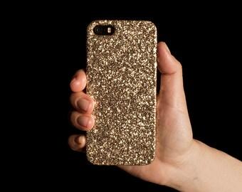 Glitter Case for iPhone 4, 5/5S/SE, 6/6S Plus, 7 Plus, Samsung A3, S6, S7 Edge, S8 Plus and Google Pixel XL - Gold
