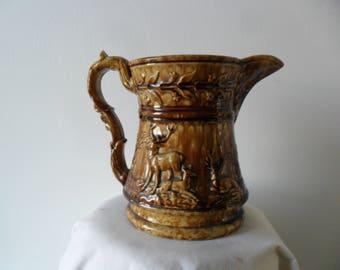 Primitive Bennington Glaze Pitcher~Brown Stoneware~Deer