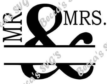 Mr. & Mrs. Spilt Monogram SVG