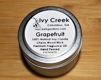 Grapefruit Candle, Grapefruit Wood Wick Candle, Wood Wick Candle, Metal Tin Candle, Gifts for Her, Grapefruit, Citrus, Summer, Spring