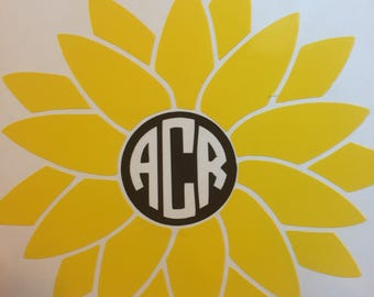 Sunflower/ Flower Monogram Car/ Tumbler/ Yeti/ Laptop/ Mug/ Phone Decal