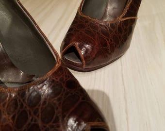 Vintage peep toe alligator slingback 1940's