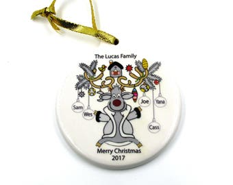 Customized Personalized Family Reindeer Ornament