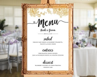 Wedding menu - wedding dinner menu - printable wedding menu - wedding menu sign - PRINTABLE 24x36 - 18x24 - 16x20