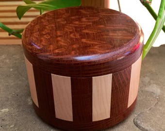 Custom Ring Box - Lacewood and maple hand crafted wooden box with your special date or short phrase under lid