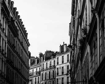 Montmarte Sunset BW - Paris Photography - Wall Art Print - Paris Decor - Black and White - Fine Art Photography - Montmarte Sunset BW - 0099