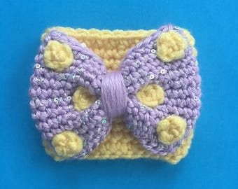 Violet Lemonade Rock the Dots Bow Coffee Cozy