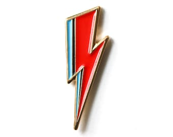 Bowie inspired Gold Enamel Pin // Aladdin Sane // David Bowie // Lightning Bolt // Accessories // Flair