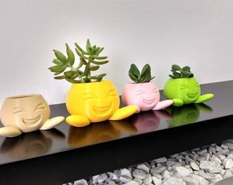 Emoji Smile Flower Pot cover