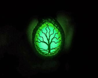 Glow in the dark tree of life wrapped with hand oxidized copper wire pendant necklace