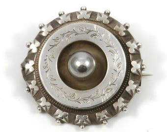 antique Victorian silver plated brooch