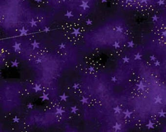 Laurel Burch Basic Purple Stars with Metallic Accents cotton precut quilting fabric material