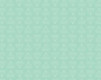 Shine Diamond Mint In Knit by Simple Simon & Co for Riley Blake cotton spandex lycra, diamond, jersey 4way stretch K6662R-MINT green