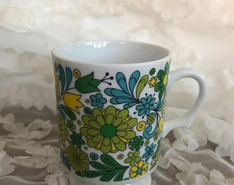 SALE Retro 70s Royal Crown Arnart Smug Mugs Footed Coffee Mug - Folk Art, Flowers