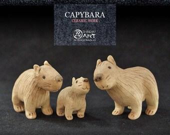 Ceramic Capybara (Set of 3 Mini Ceramic Dolls), Hydrochoerus hydrochaeris, Kawaii Hand-built Ceramic Art, Rare Animals, Desk Accessories