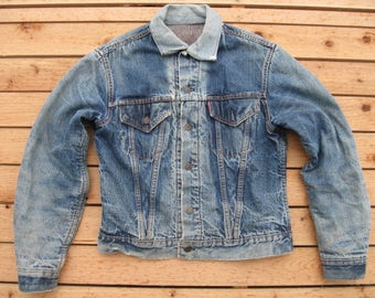 Tough Levis Big E  Blanket Lined Winter Denim Jacket Size 42