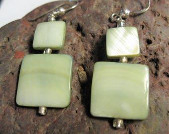 Minty green shell earrings