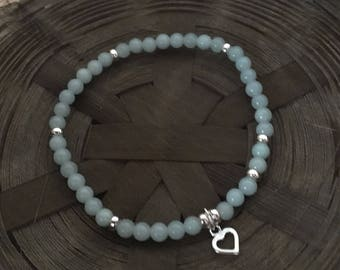 Sterling Silver Heart Chinese Amazonite Gemstone Bracelet Blue Bracelet Gemstone Bracelet