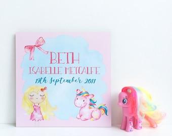 Unicorn Baby Girl Plaque, Unicorn Birth Announcement Plaque, Unicorn Theme Nursery, Pink Unicorn Decor, New Baby Unicorn Plaque, Unicorn Art