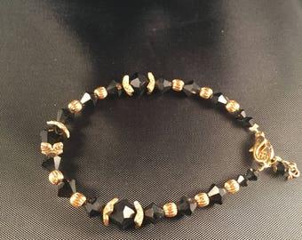 Black and gold Swarovski crystal bracelet 015