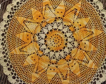 Sunshine crocheted round doily 18 inch bright yellow orange cheerful
