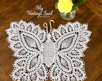 Butterfly Lace set of two  - Vintage Crochet Doily - Handmade Doily - Farmhouse Decor - Wedding Gift - Crochet Lace Doily - Butterfly Wall A