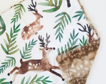 Deer and Foliage Lovey, Fawn Lovey, Minky Baby Lovey, Minky Baby Blankey, Baby Girl Lovey, Baby Boy Lovey, Gender Neutral Blanket, Deer