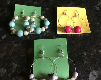 Handmade hoop earrings selection of colours available