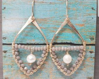 Faceted grey quartz, fresh water pearl and 14k Gold Filled dangle tear drop hoop earrings