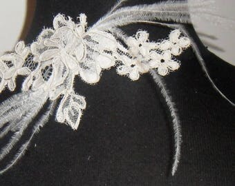 Ivory lace Ecru has feather lace wedding necklace