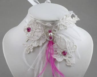 Ivory lace and pink bridal necklace.
