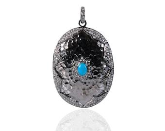 SDP13412 - Sterling Silver Diamond Pendant-Turquoise
