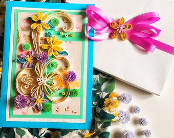 Delicate flowers in pastel colors,Love quilling card, Colorful quilled card,Cool paper quilling card,Colorful  flowers ,Quilling 3D,paper