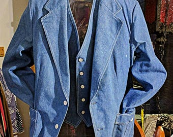 Vintage Lee's Denim Jacket with Matching Vest