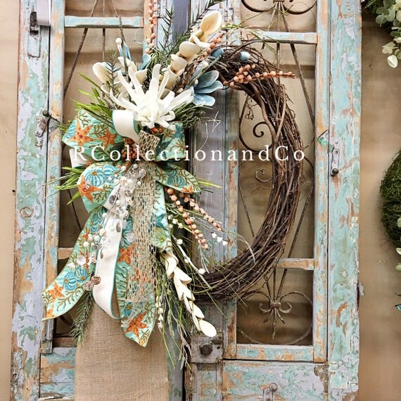 summer wreath  grapevine wreath  everyday wreath by garland for fireplace uk Fireplace Garland for Xmas