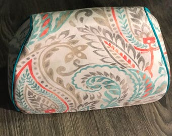 Cricut Cuttlebug V3 Custom Handmade Dust Cover Teal, Coral, Gray Paisley with Teal Piping