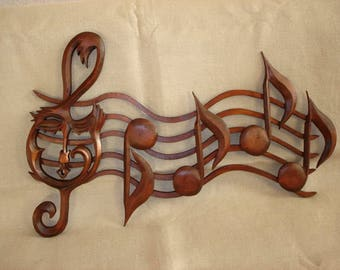 Music Notes,  Wooden notes, Staff with notes,  music Wood sign, Carving wall music