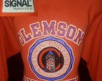 Vintage 1988 Clemson Tigers Signal Sweatshirt XL 50/50 80's Dated Made in USA