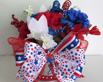 Hand-Painted Patriotic Themed Silk Flower Arrangement Centerpiece in a Galvanized Pail, featuring Firework Pick and a Handmade Bow