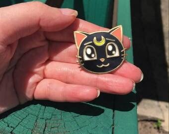 Sailor Moon Cat Luna Enamel Pin- Military Clutch