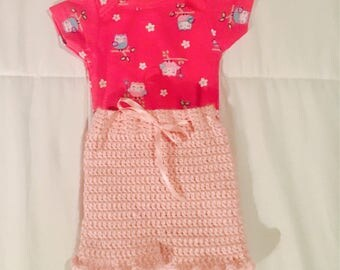 Crochet baby girl short outfit