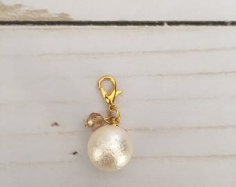Crystal Pearl Charm- Champagne